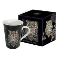 Owl Gold Foil Art Design Mug Gift Boxed